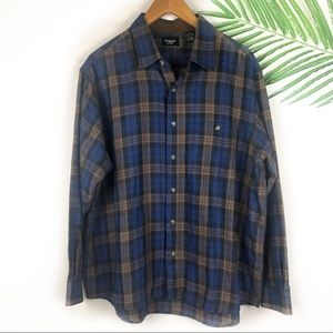 Haggar Mens Flannel Plaid Button Down XL